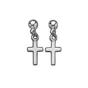 Sterling Silver Jesus Christ Cross Crucifix Drop Earrings