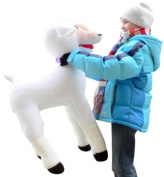 BIG 90cm Tall Lifesize Stuffed Lamb for Easter or Anytime - 80cm Wide Jumbo Giant Plush Sheep Lamb - Firm Bendable Legs and Squishy Soft Body and Head! Adorable! - American Made in the USA America