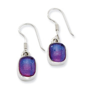 Sterling Silver Blue Dichroic Glass Dangle Earrings