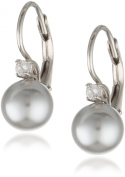 Sterling Silver 8mm Grey Shell Pearl and Cubic Zirconia Lever Back Earrings