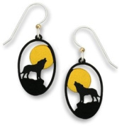 Wolf Howling at Moon Earrings, Handmade in USA by Sienna Sky si1064