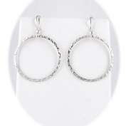 Sterling Silver Flat Hammered Circle Large Links Earrings Italy