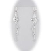 Sterling Silver Floral Link Tassel Dangle Earrings Italy