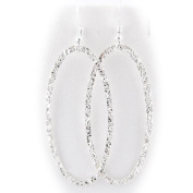 Sterling Silver Flat Hammered Oval Large Links Earrings Italy