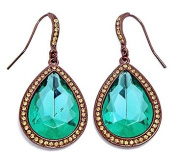 Heirloom Finds Dazzling Chocolate Gold Tone Pear Shaped Earrings with Large Emerald Green and Champagne Crystals