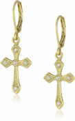 1928 Jewellery Gold with Crystal Cross Drop Earrings