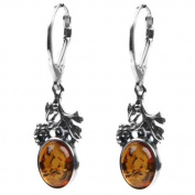 Baltic Honey Amber Sterling Silver Classic Grape Leverback Earrings