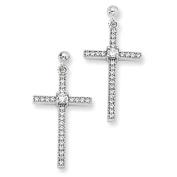 Sterling Silver & Cz Brilliant Embers Polished Cross Dangle Earrings