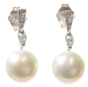 Classical 925 Sterling Silver high-lustre 8.0mm Cream Pearl Women Drop Earrings with Cubic Zirconia/CZ
