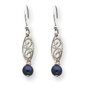 Sterling Silver Black Cultured Pearl Dangle Earrings - JewelryWeb