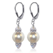 """SCER155 Sterling Silver Leverback 1.5"""" Long Drop Earrings Made with. Elements 10mm White Faux Pearl and Crystal"""