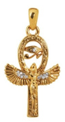 Gold Colour Pewter Isis Earrings with Eygptian Eye of Ra
