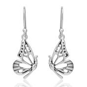 925 Sterling Silver Open Half Butterfly Wing Dangle Hook Earrings 1.3'' Beautiful Jewellery for Women - Nickel Free