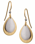 Silver Forest Mettalic 2 Layer Drop 18K Plate Earrings Ne-0228