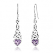 Sterling Silver Celtic Knot Amethyst Gemstone Heart Shaped Drop Hook Earrings 1.3'', Jewellery for Women - Nickel Free