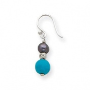 FW Black Cultured Pearl Turquoise Dangle Earrings - JewelryWeb