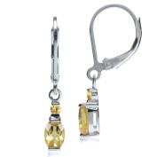 Natural Citrine 925 Sterling Silver Leverback Earrings