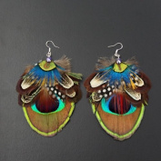 Crystalmood Handmade Multi-coloured Feather Earrings with Sterling Silver Earwire