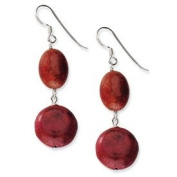 Sterling Silver Red Created Coral Dangle Earrings - JewelryWeb