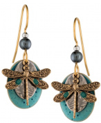 Dragonfly Drop Earrings by Silver Forest of Vermont, Blue Enamel Layer Bead 18k Plate, Handcrafted in the USA E-9266