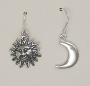 A Little Pair of Sterling Silver Earrings of the Sun and the Moon