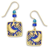 Adajio by Sienna Sky Blue Square With Moon and Stars Filigree Earrings 7462