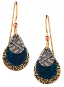 Silver Forest of Vermont Blue Tear 18K Plate Drop Earrings e-9590 Handcrafted in the USA