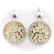Gold and Rhodium Plated Sterling Silver Shiny Ring Laser Cut Filigree Lace Circle Flower Earrings Italy