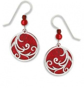 Adajio by Sienna Sky Bright Red Disc Polished Silver Overlay Earrings 7458
