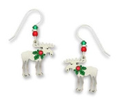 Sienna Sky Silver Christmas Moose with Holly Decoration Drop Earrings 1500