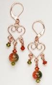 Copper Filigree Heart Earrings