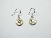 Simply Bullet Dangle Earrings Winchester 40 Calibre Gold Tone Brass