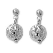Sterling Silver Mirrored and Fragmented Ball Drop Earrings