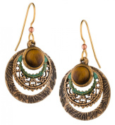 Silver Forest of Vermont Genuine Tiger Eye Filigree 18K Plate Drop Earrings Handcrafted in the USA e-9957