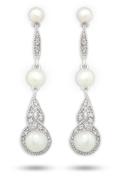 JanKuo Jewellery Crystal Bridal, Prom Pearl Drop Earrings.