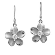Silver Plumeria Earrings with CZs, 12mm