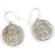 Silver Plated Brass Small Inverted Leaf Solid Hook Earrings