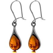 Certified Genuine Honey Amber and Sterling Silver Tear Drop Dangle Earrings
