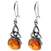 Certified Genuine Honey Amber and Sterling Silver Celtic Oval Earrings