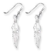 Sterling Silver Feather Earrings - JewelryWeb