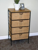 4D Concepts 4-Drawer Wicker Stand, Wicker/ Metal