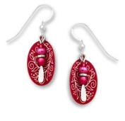 Adajio by Sienna Sky Cranberry Red Vine Etched Oval Bead Drop Earrings 7524