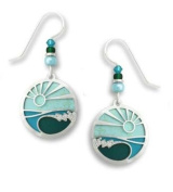 Adajio by Sienna Sky Silver Round Scenic Aqua Ocean Wave Earrings 7526
