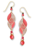 Adajio by Sienna Sky Coral and Shimmering Peach Filigree Double Helix with Bead Drop Earrings 7532