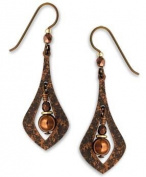 Adajio by Sienna Sky Brown Open Necktie Beaded Niobium Earrings 7189