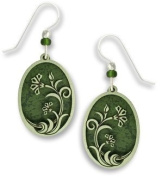 Pine Green with Filigree Floral Overlay Earrings, Handmade in USA by Adajio Sienna Sky 7522