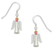 Angel Earrings with Pink Bead and Silver FiligreePastel Snowflakes Earrings with Rhinestones, Handmade in the USA by Sienna Sky 1607
