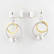 Gold Plated Rings Sterling Silver Beads Diamond Cut Ball Nickel Free Italy Earrings