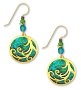 Adajio By Sienna Sky Rich Teal Disc with Gold Plated Tendrils Dangle Drop Earrings 7339
