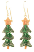 Grand Christmas Tree Earrings - Sterling Silver - Sparkling Green